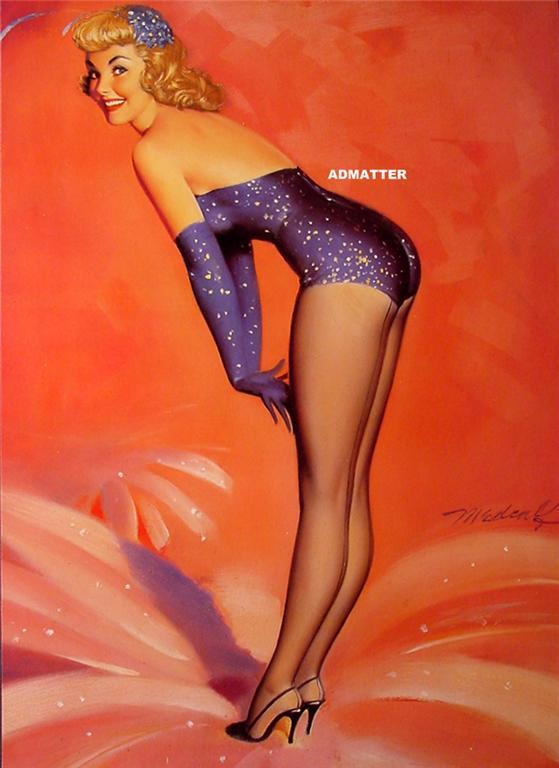 HUGE 2-Sided Pin-up Girl Poster George Petty/Medcalf