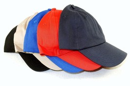 6 Panel Soft Cotton Baseball Cap, Curved Bill, Choice Colors, One Size F... - $6.95