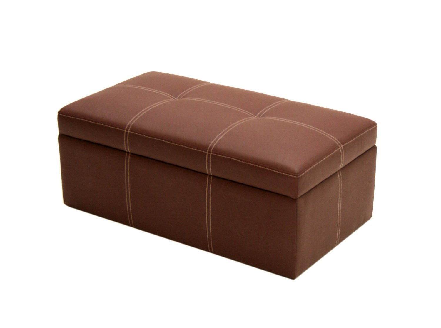 Brown faux leather large rectangle ottoman storage seat for Storage ottoman seat