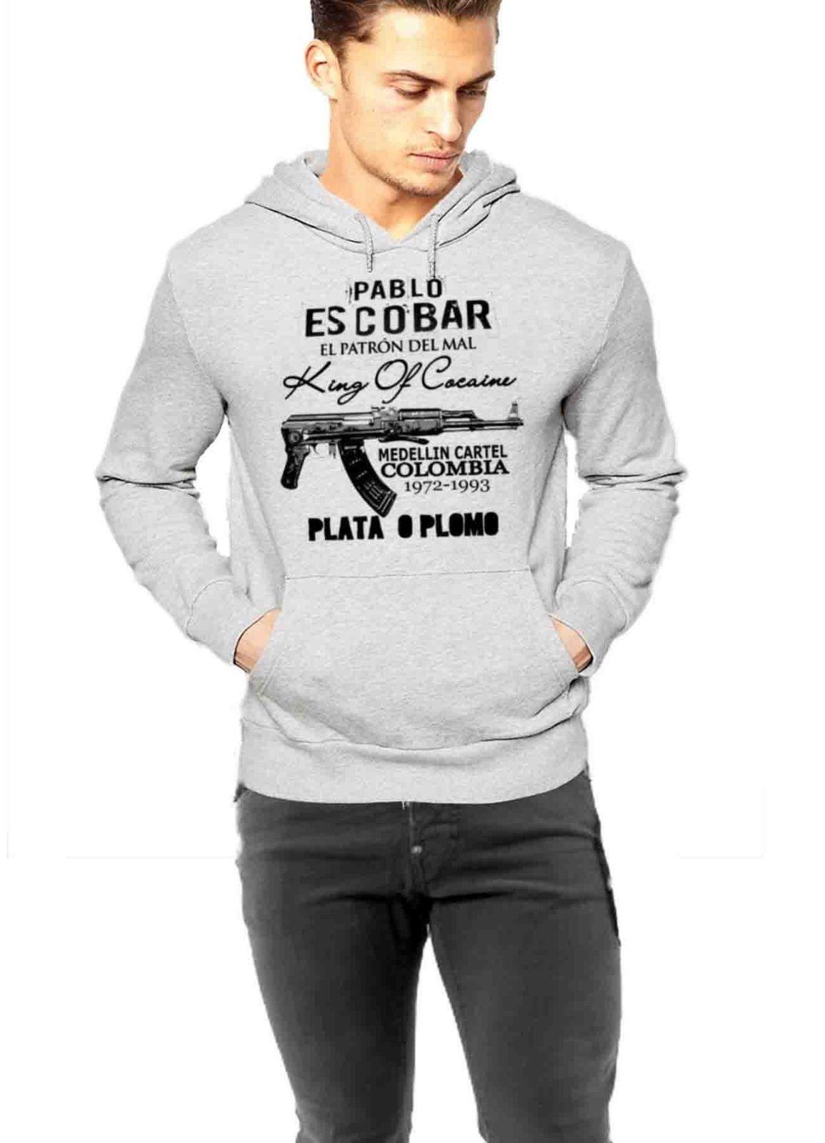 pablo escobar hoodie medellin cartel king of cocaine plata. Black Bedroom Furniture Sets. Home Design Ideas
