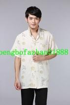 Beige Traditional Chinese Kungfu Shirt Men Short Sleeve Tang Suit Clothi... - €33,32 EUR