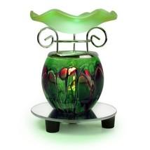 Electric Green Art Glass Tabletop Marble Pattern Lamp Style Wax Tart Oil... - $19.99