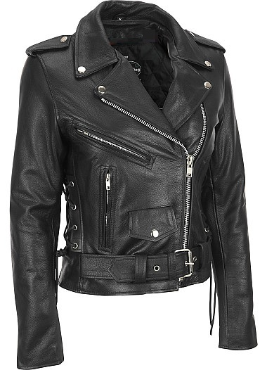 Women black brando belted biker motorcycle leather jacket front