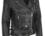 Women black brando belted biker motorcycle leather jacket front thumb155 crop