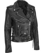Women Black Brando Belted Biker Motorcycle Leather Jacket - $179.99