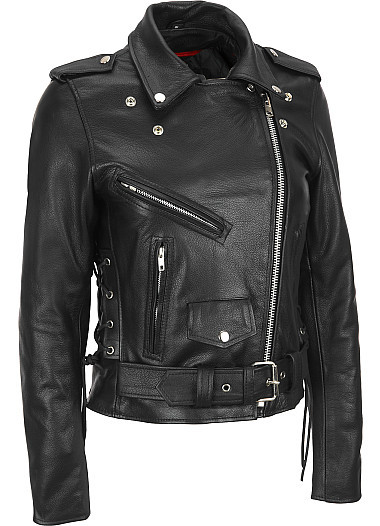 Women Black Brando Belted Biker Motorcycle Leather Jacket