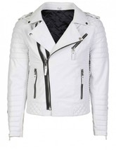 Men White Brando Quilted Biker Motorcycle Leather Jacket - $179.99