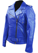 Women Blue Brando Belted Leather Jacket with Front Chest Pocket - $179.99