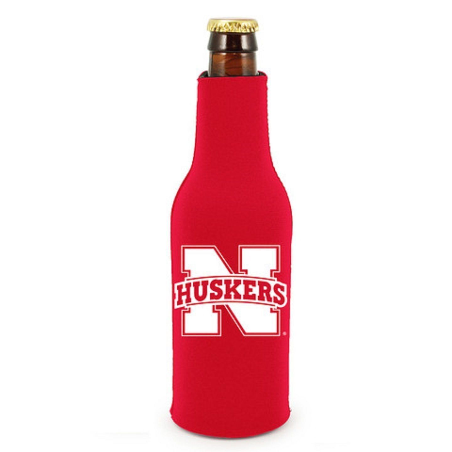 2 NEBRASKA HUSKERS BEER SODA WATER BOTTLE ZIPPER KOOZIE COOLIE HOLDER NCAA