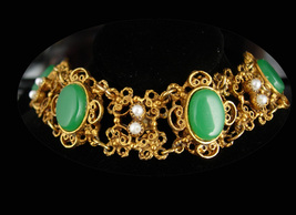 Vintage Chrysoprase Bracelet edwardian Revival Russian gold color pearl ... - $110.00