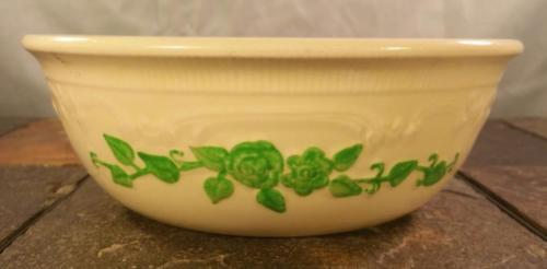Homer Laughlin Oven Serve Green Embossed Flowers Ivory Casserole Dish (No Lid)