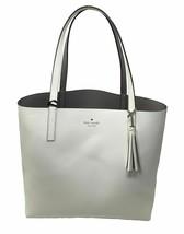 NWT Kate Spade Lakeland Marina Reversible White/ Gray Leather Tote WKRU5342 $299 - $129.88