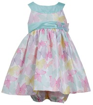 Bonnie Jean Baby Girl Mint-Green Multicolor Butterfly Print Shantung Dress