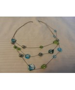 """Women's 3 Strand Necklace with Metal Balls, Glass & Stones 21.5"""" Long - $25.99"""