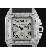 Watch Mens cartier santos leather band iced out... - $11,373.12