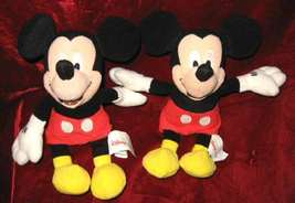 "2 Mini Bean Bag 2001 Mickey Mouse Figurine Doll 8"" - $14.99"