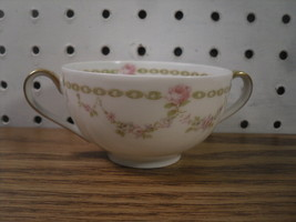 Antique Theodore Haviland Limoges Two Handle Consomme Cup and Saucer Pin... - $119.25