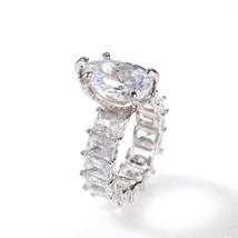 Huitan Solitaire Big Water Drop Pear  Ring for Women Micro Pave CZ Band ... - $19.20