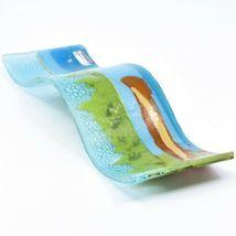 Fused Art Glass Lake River Canoe Lakefront Wavy Sun Catcher Handmade in Ecuador image 7