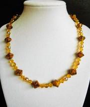 "17"" golden swarovski crystal and artglass bead necklace - $55.00"