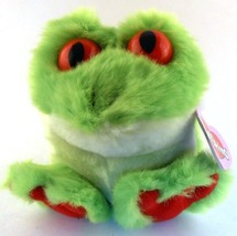Freddy the Tree Frog RETIRED Puffkins Bean Bag Plush 1999 Green with Han... - $5.93
