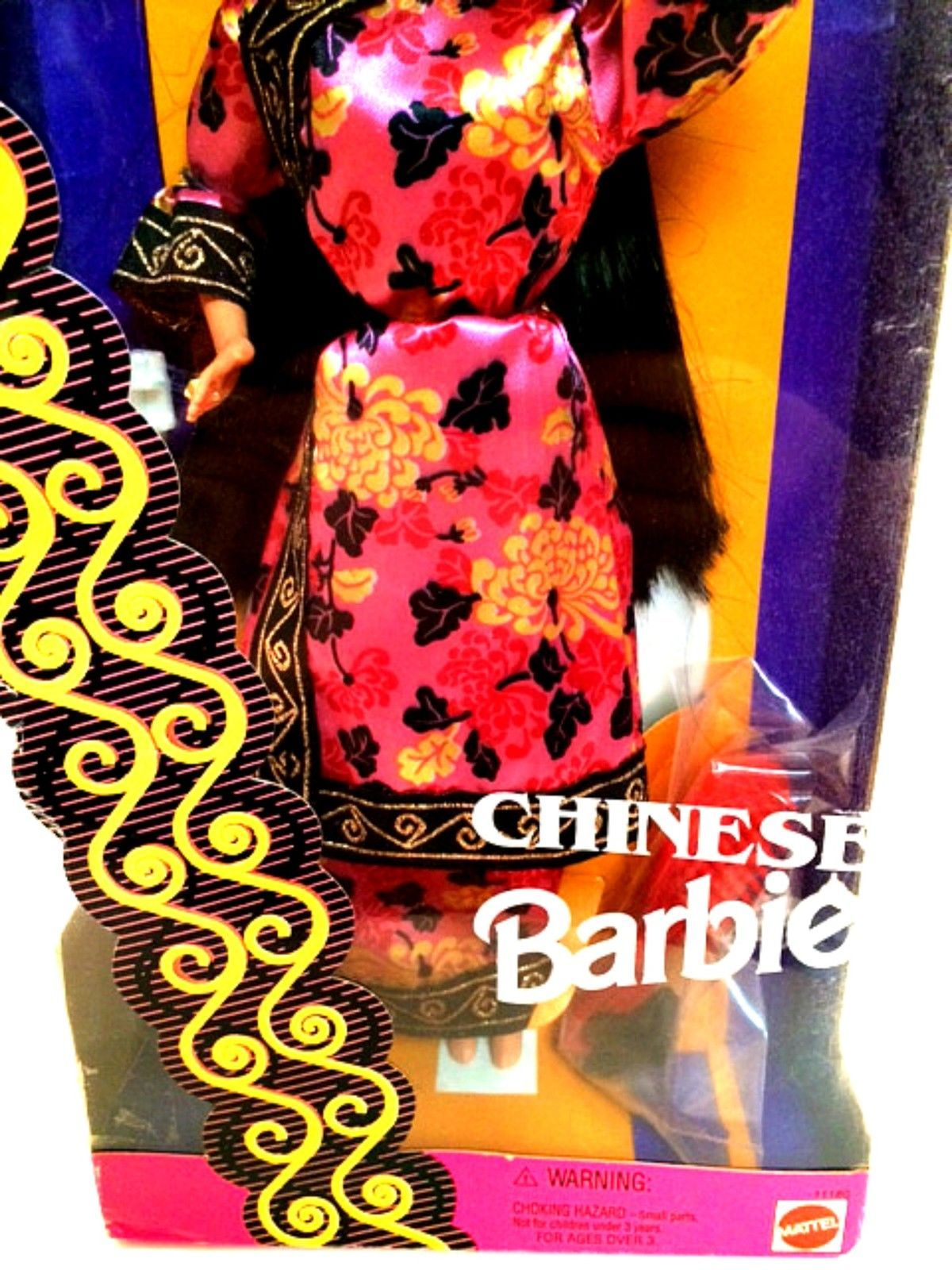 Chinese Barbie Dolls of the World Special Edition Pink Floral Print Costume
