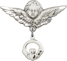 Sterling Silver Baby Badge with Claddagh Charm Pin 1 X 1 1/8 inch - $59.33