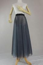 Black Polka Dot Tulle Skirt High Waisted Black Tulle Midi Skirt Outfit image 3
