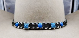 Black HATBAND Genuine Leather with Silver edge LACING, Turquoise colored... - $31.99