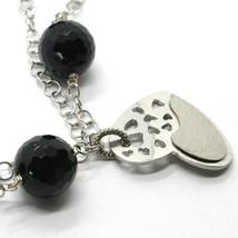 925 STERLING SILVER BRACELET BIG FACETED BLACK ONYX BALLS & SATIN HEART PENDANT image 2