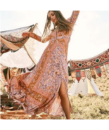 Boho Floral Print Long Dress - $79.95