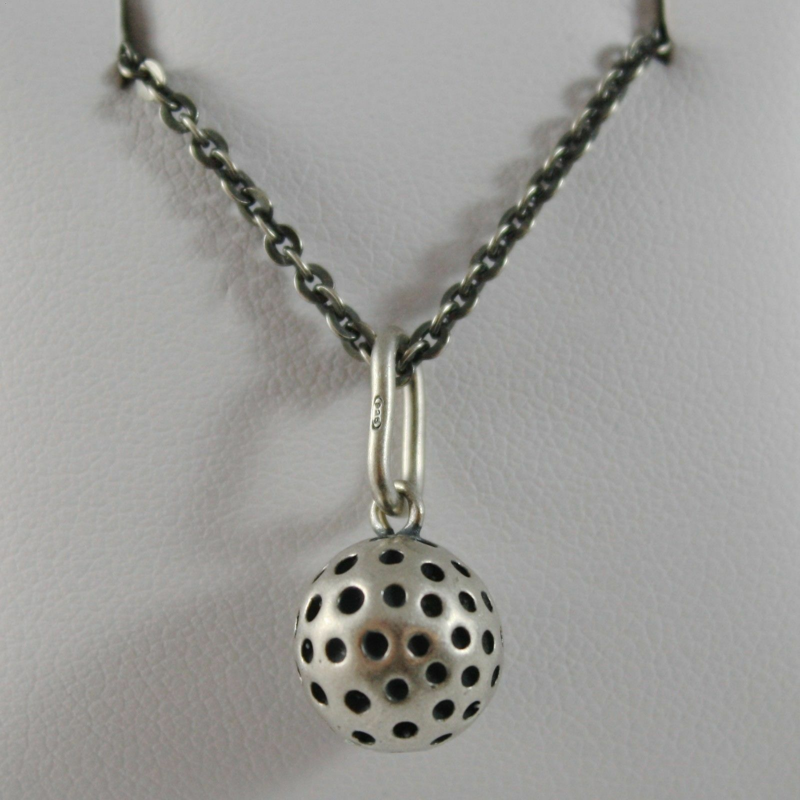 925 Sterling Silver Necklace Burnished Pendant with Golf Ball Made in Italy