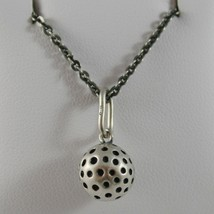 925 Sterling Silver Necklace Burnished Pendant with Golf Ball Made in Italy image 1