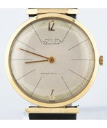 Vintage 14k Yellow Gold Men's Moviga Hand-Winding Watch w/ Leather Strap - $1,872.32