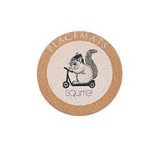 Panda Superstore Squirrel Shape Cork Wood Heat Insulation Cup Mat