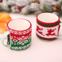 Christmas DecorationKnitted Woolen Cup Cover Mug Cup Snowflake Elk Bottl... - $12.00