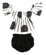 StylesILove Baby Girl Flower Stripe Print Off Shoulder Sunsuit with Bloo... - $14.99
