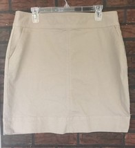 Talbots Skirt Size 14 Beige Tan Khaki Knee Length Straight Stretch Cotton - $20.47