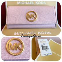 NWT MICHAEL KORS LEATHER FULTON FLAP CONTINENTAL WALLET IN BLOSSOM - $68.88