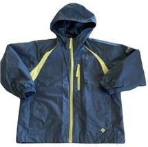 Columbia Boys Navy Blue Lime Green Zippers Accents Hooded Windbreaker Jacket 8 - $19.35