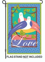Love Birds Applique Garden Flag - 12.x 18 inches - $9.99