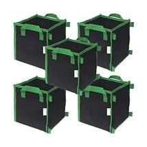 CASOLLY Square Fabric Grow Bag/Pot 3 Gallon 5 Bags Garden Planting Bags ... - $14.72