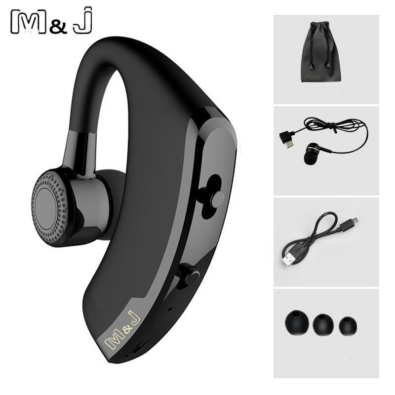 M&J V9 Handsfree Business Bluetooth Headphone With Mic Voice Control Wireless Bl