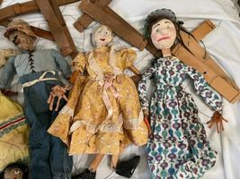 """Lot (10) Antique Handmade Marionette Doll Wood Resin 12.5"""" to 20"""" Man Woman image 4"""