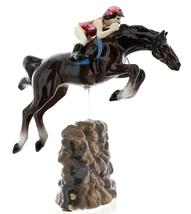 Hagen-Renaker Specialties Ceramic Horse Figurine Girl Show Jumping a Rock Wall image 3