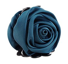 Beautiful Satin Artificial Rose Flower Hair Claw Clips Ponytail Jaw Clips, Dark