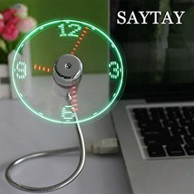USB LED Clock Fan, SAYTAY Mobile USB Fan Portable Cooling Mini USB (Clock) - $18.35