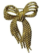 Vintage 80s Signed Angel Gold Tone Rope Knotted Bow Brooch Pin Large 2.2... - $22.99