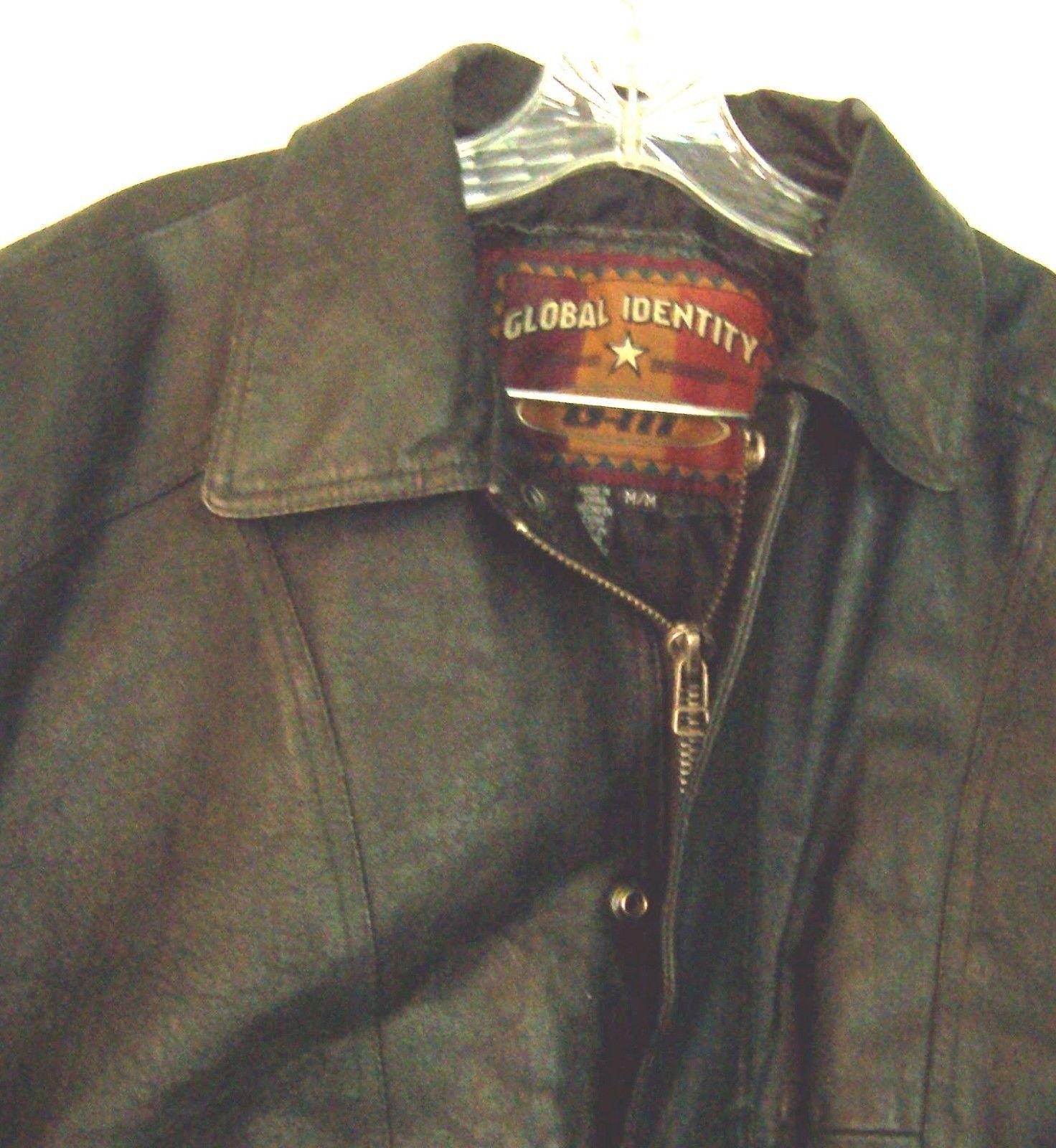 Global Identity Mans Black Leather Zip Up Bomber Jacket Size Medium  image 2