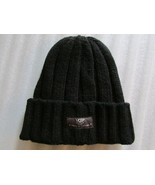UGG Hat Wide Ribbed Cuff Knit Calvert Beanie Black One Size - $44.54